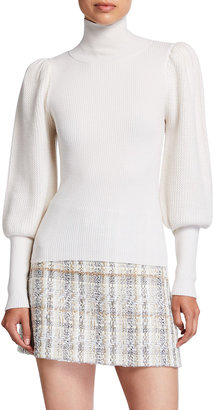 Alice + Olivia Babette Turtleneck Puff-Sleeve Ribbed Pullover