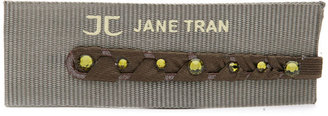 Jane Tran Fabric Wrapped Bobby Pin With Crystal, Khaki 1 ea