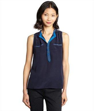 Greylin ocean and cobalt semi-sheer silk crepe 'Rudolph' sleeveless blouse