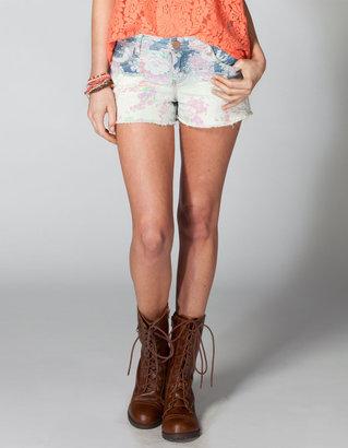 Tinseltown Floral Womens Cutoff Denim Shorts
