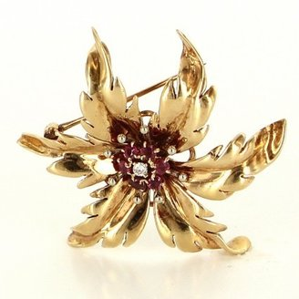Tiffany & Co. very good (VG) Vintage 14K Yellow Gold Ruby Diamond Brooch Pendant