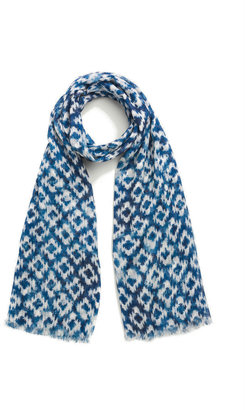 Gerard Darel Cotton And Linen Scarf With Fancy Print