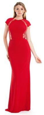 JS Boutique Lace Trim Cap Sleeve Gown