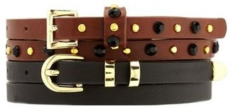 Charlotte Russe Solid & Studded Skinny Belt Duo