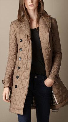 Burberry Mid-length Diamond Quilt Trench Coat