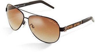 Roberto Cavalli Leopard Print Aviator Sunglasses