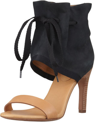 See by Chloe Ruched Ankle-Cuff Sandal, Black