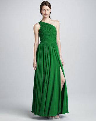 Halston One-Shoulder Gathered Gown, Emerald