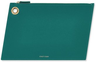 Stacy Chan London Large Ava Pouch In Teal Saffiano Leather