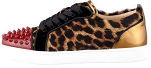 Christian Louboutin Louis Junior Leopard-Print Spikes Low-Top Sneaker