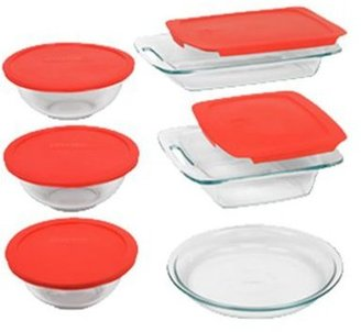 Pyrex 11-pc. Easy Grab 11 piece Bake and Store Set, Red