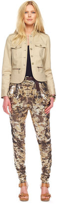 MICHAEL Michael Kors Sequined Camo Deep-Pocket Pants, Rich Olive