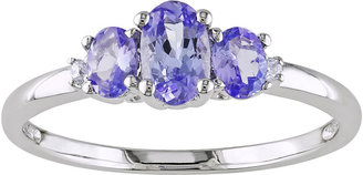 JCPenney FINE JEWELRY 10K White Gold Tanzanite 3-Stone Ring