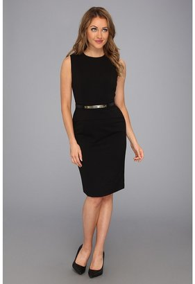 Calvin Klein Belted Peplum Dress CD3X1J38 (Black) - Apparel