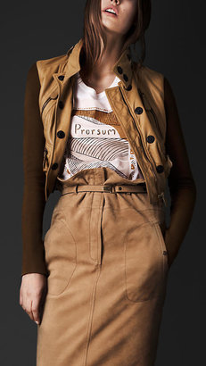 Burberry Disconnected Collar Leather Flight Jacket