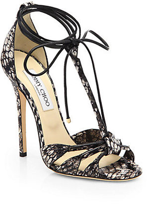 Jimmy Choo Motive Snakeskin & Leather Tie-Up Sandals