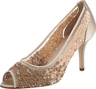 Oscar de la Renta Open Toe Sequin Embellished Pump