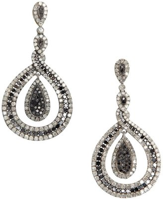 Black Diamond And Diamond Drop Earrings