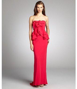 ABS by Allen Schwartz fuchsia ruffled bustle waist strapless stretch knit evening gown