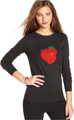 French Connection Sweater, Long-Sleeve Crew-Neck Sequined Strawberry Top