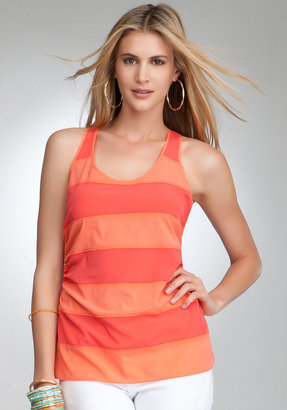 Bebe Silk Ruched Side Stripe Tank
