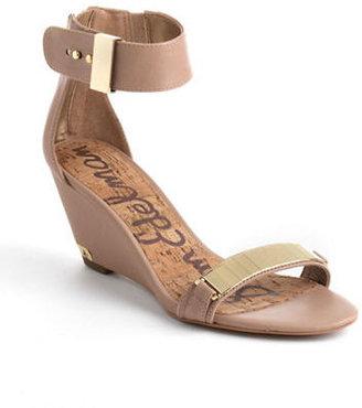 Sam Edelman Serena Ankle-Wrap Leather Wedge Sandals