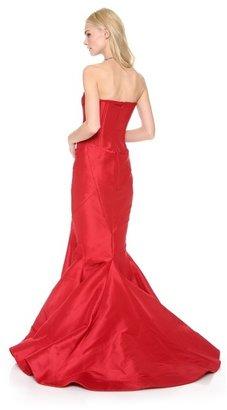 Zac Posen Strapless Silk Faille Gown