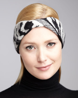 Diane von Furstenberg Dayla Animal-Print Head Wrap, Black/White