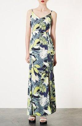 Topshop Leaf Print Cutout Maxi Dress