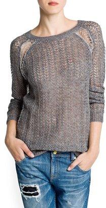 MANGO Metallic detailing openwork sweater