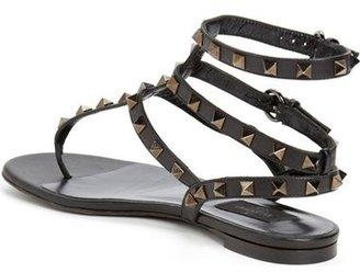 Valentino 'Noir Rockstud' Thong Sandal