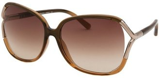 Calvin Klein Women's Square Olive Gradient and Silver-Tone Sunglasses