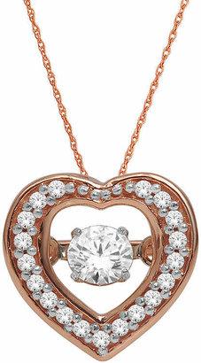 FINE JEWELRY Love in Motion 1/4 CT. T.W. Diamond 10K Rose Gold Heart Pendant Necklace