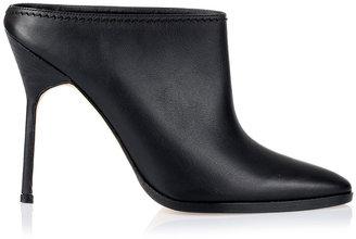 Manolo Blahnik Bicvicpla black leather bootie