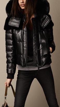 Burberry Fur Trim Nappa Leather Puffer Jacket