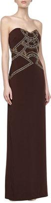 Badgley Mischka Strapless Beaded-Bodice Gown