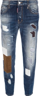 DSquared Dsquared2 distressed patchwork jean