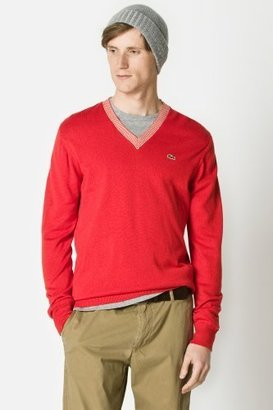 Lacoste Cotton Jersey V-neck Semi Fancy Sweater With Stripe Tipping