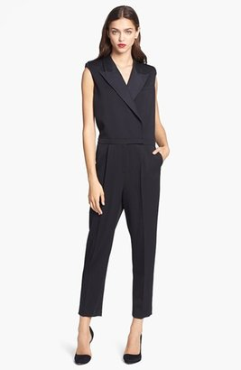 Rachel Zoe 'Cypress' Sleeveless Leather Trim Jumpsuit