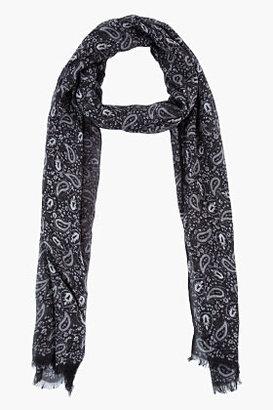John Varvatos Black & Grey Paisley Print Scarf