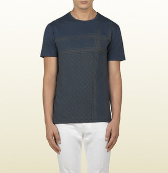 Gucci Blue Light Cotton Jersey T-Shirt With Kefia Print