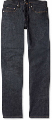 A.P.C. New Standard Regular-Fit Dry Selvedge Denim Jeans $195 thestylecure.com