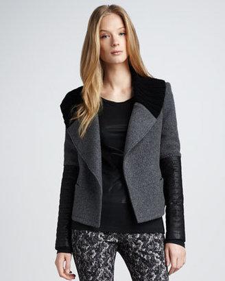 Theory Leather-Sleeve Jacket