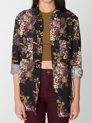 American Apparel Unisex Printed Rayon Long Sleeve Button-Up