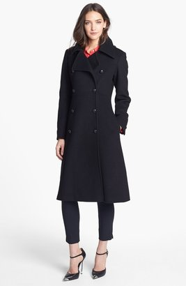 French Connection Fit & Flare Wool Blend Coat
