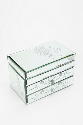Urban Outfitters Etched Leaf Mirrored Jewelry Box