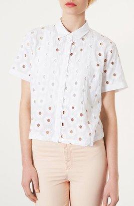 Topshop Circle Cutout Crop Shirt