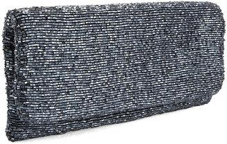 Moyna Beaded Fold-Over Clutch, Gunmetal