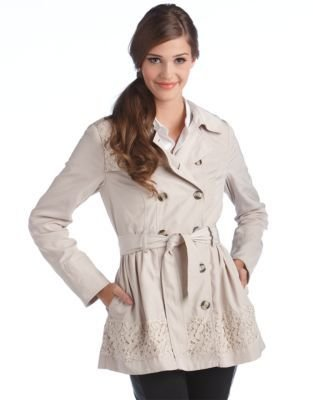 Kensie Trench Jacket With Lace Trim