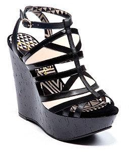 """Jessica Simpson Krisella II"""" Wedge Sandal - Black Stripe"""